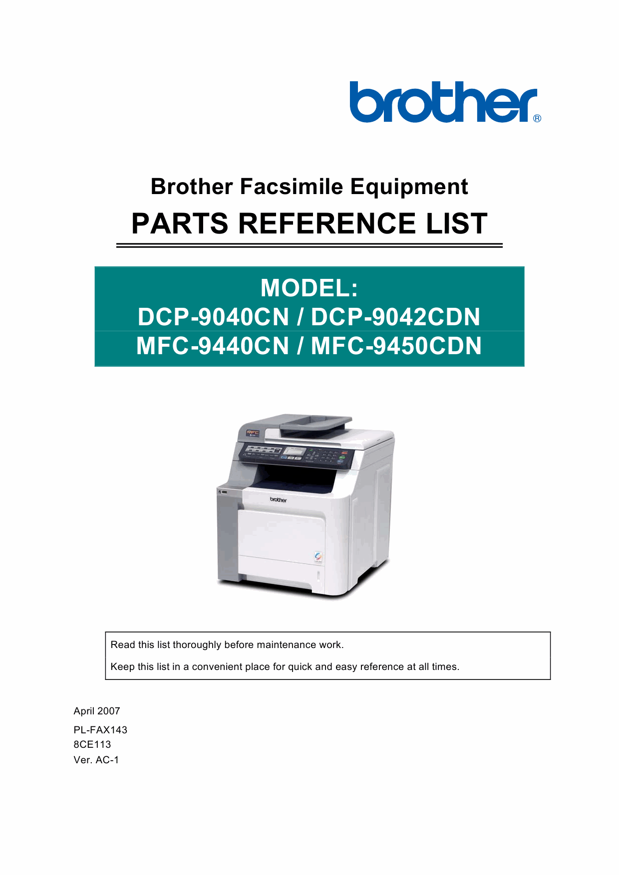 Brother MFC 9440CN 9450CDN DCP9040CN 9042CND Parts Reference-1